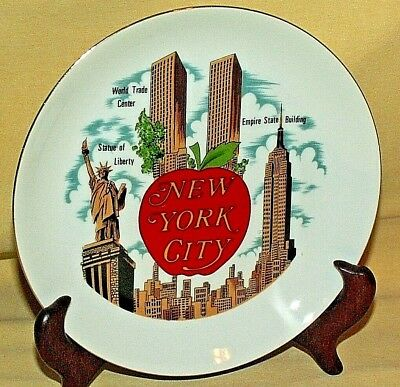 New York Plate Twin Towers Empire State Statue Liberty Vintage Korea Gold Trim.