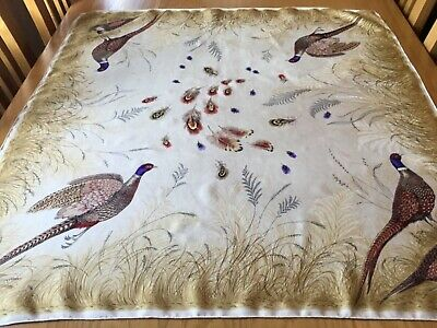 VINTAGE FRENCH HAND ROLLED SILK SCARF.  GAME BIRDS!  34 x 32 INCHES. BEAUTIFUL!>