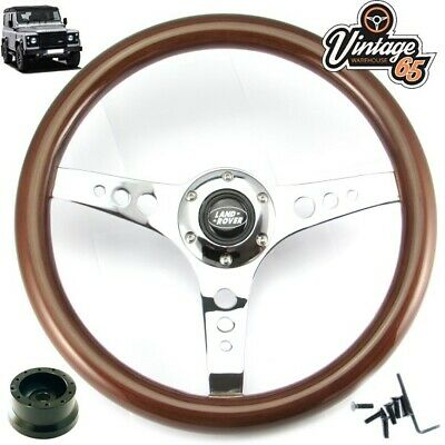 Land Rover Defender Classic Wood Rim Steering Wheel Upgrade 18.5mm Boss Kit Horn