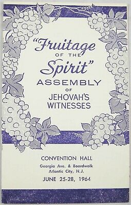 1964 District Assembly PROGRAM Atlantic City, NJ Convention Watchtower Jehovah