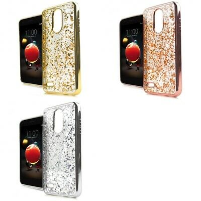 LG Phoenix 4 Glitter Flakes Chrome Cute Shiny Case Cover