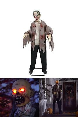 "6"" Halloween Zombie LED Eyes Dead Animated Sound Indoor Outdoor Prop Life Size"