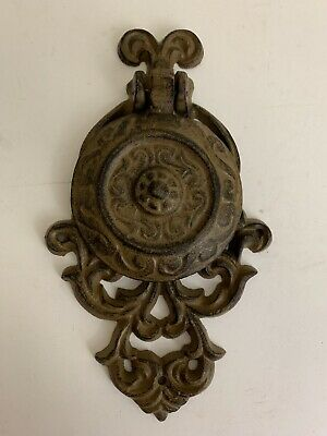 "Vintage CAST IRON Decorative Victorian Painted DOOR KNOCKER Brown 10"" Heavy"