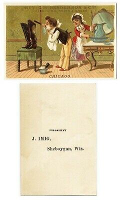 Sheboygan WI IMIG SHOES Victorian Trade Card Man Shaving Using Boots as Mirror