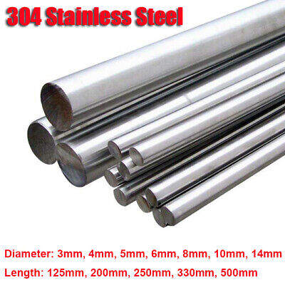 304 Stainless Steel Round Metal Bar Solid Rod Dia 3mm-14mm Length 125mm-500mm