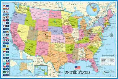 MAP OF USA United States of America 24x36 Wall POSTER with all 50 STATE FLAGS