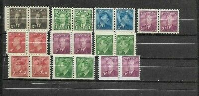 pk46170:Stamps-Canada Lot of 10 Assorted Older Issue Pairs -Mint Never Hinged