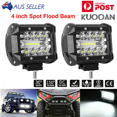 2x 4 inch 200W CREE LED Light Bar SPOT FLOOD 3Row Offroad Work Fog Lamp