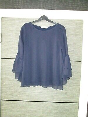 Girls H&M Dark Navy Blue Bell Sleeved Top Age 14Yrs Vgc