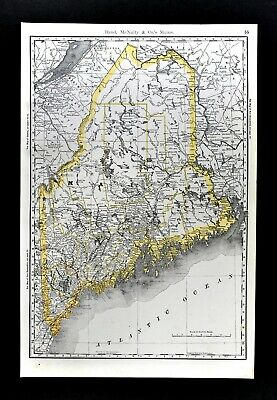 1892 Rand McNally Railroad Map Maine Portland Augusta Bangor Dover Belfast RR