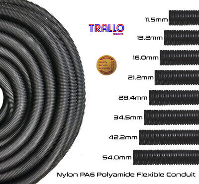 Nylon PA6 Flexible Conduit  10, 12, 16, 20, 25, 32 & 40mm - VERMIN RESISTANT