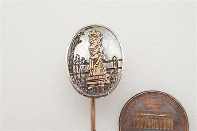 ANTIQUE VICTORIAN ENGLISH SILVER & GOLD KATE GREENAWAY STYLE STICKPIN c1880