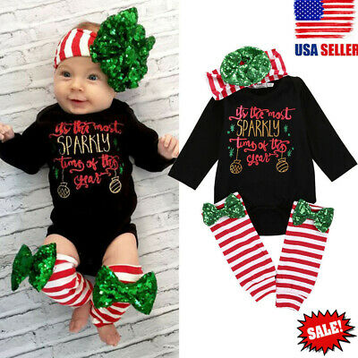 Infant Christmas Outfit for Girl Baby First Xmas Party Romper Leg Warmers 3pcs