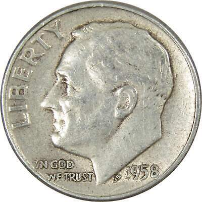 1958 10c Roosevelt Silver Dime US Coin Average Circulated