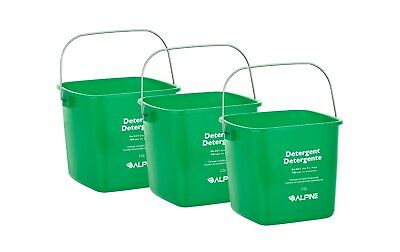 Alpine Industries Green 3 Quart Plastic Cleaning Pail Water Mop Bucket 3 Pack