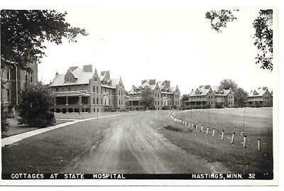 RPPC HASTINGS MN COTTAGE STATE HOSPITAL #32 Posted Message Real Photo Postcard