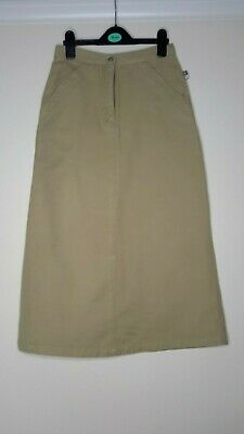 Bnwot Girl's Tex Beige Midi Skirt With Centre Front Zip & Button Waistband Size