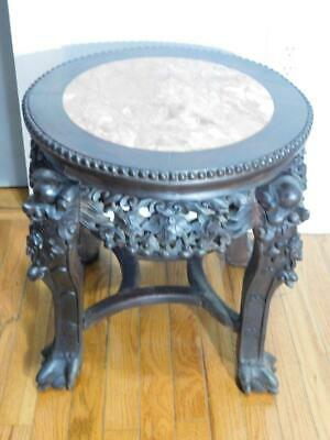 Antique Hand Carved Wood&Marble Chinese/Asian/Oriental Plant Stand/Table