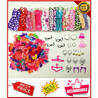 Doll Accessories Clothes Glasses Necklace Shoes For Barbie Doll Gift 40 Item/Set