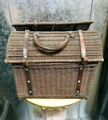 Vintage Victorian Wooden Wicker Cat Basket Kitten Carrier Small Pet Holder