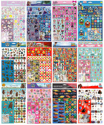 A4 MEGA PACK 150+ Sticker Assortment - Kids Character Pack Party Gift Bag Xmas