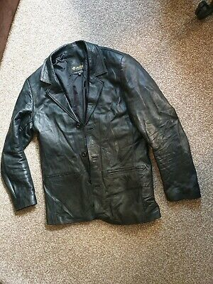 ADIM GENUINE SOFT BLACK LEATHER MENS JACKET BLAZER Size MEDIUM