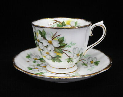 Royal Albert White Dogwood Cup and Saucer Footed Countess Brushed Gold England