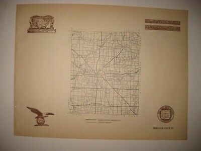 Antique 1920 Portage County Ravenna Ohio Road Highway Map Railroad Detailed Fine