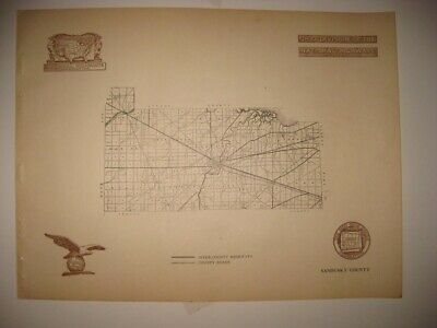 Antique 1920 Sandusky County Fremont Ohio Road Highway Map Railroad Detailed Nr