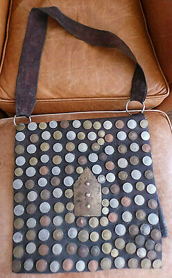 Vintage Moroccan Leather Water Sellers Bag Decorated with European Coins VG