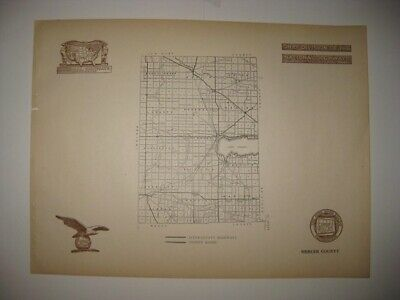 Antique 1920 Mercer County Ohio Road Highway Map Railroad Detailed Rare Fine