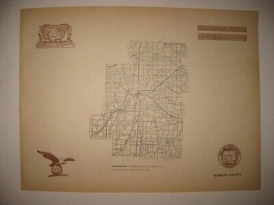 Antique 1920 Morrow County Mount Gilead Ohio Road Highway Map Railroad Detailed