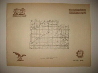 Antique 1920 Paulding County Ohio Road Highway Map Railroad Detailed Fine Rare