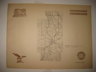 Antique 1920 Summit County Akron Ohio Road Highway Map Railroad Detailed Rare Nr
