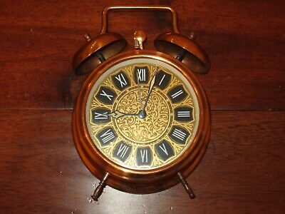 Vintage MOM Brand Copper Twin Bell Wind Up Alarm Clock MADE IN HUNGARY