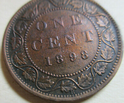 1898 Canada Large Cent Coin. VF NICE GRADE 1 Penny KEY DATE (RJ759)