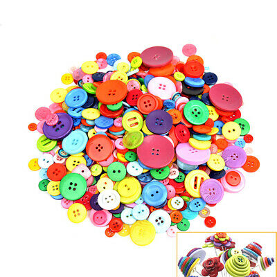 600PCS Assorted Mixed Color Resin Buttons 2 and 4 Holes Round DIY Sewing Craft