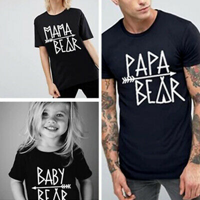 Family Matching Clothes Mama Papa Sister  Baby Bear T-shirt Tops Blouse
