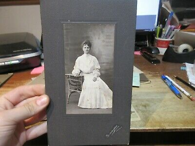 Antique Old CABINET PHOTO Picture Mansfield Ohio Seated Woman Wicker Desk Rings