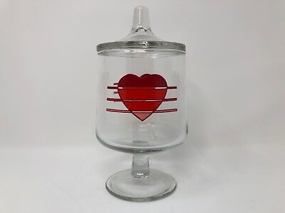 Vintage Glass Red Heart Vanity Jar Pedestal Cotton Ball Q Tip Container w Lid
