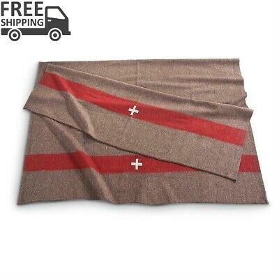 Swiss Army Style Wool Blanket Thick Wool Blend Deer Shack Cabin Home Camp Bed