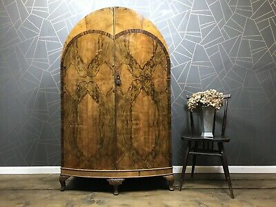 Stunning Antique Burr Walnut Wardrobe With Drawers Vintage Cupboard Art Deco