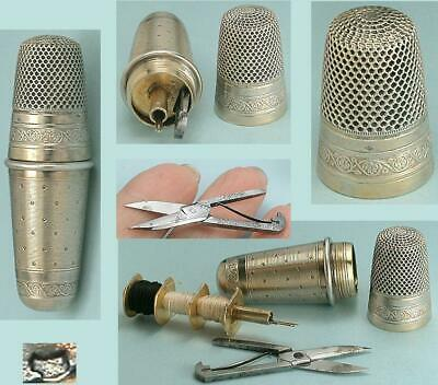 Antique French Silver Sewing Kit / Etui * Bobbins, Scissors, Thimble* Circa 1900