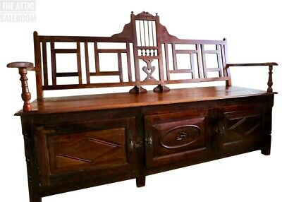Exceptional Antique Indian Hardwood Settle Monks Bench Hall Pew Seat w/ Storage