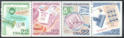 SC#2201a - 22c Stamp Collecting Booklet Pane of 4 MNH
