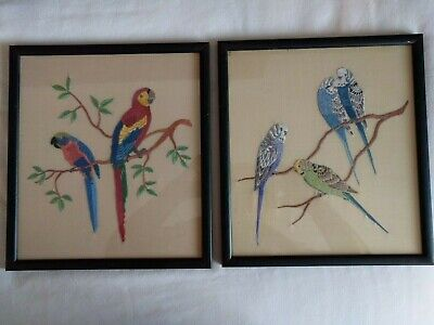 Vintage Hand Embroidered Pair Of Birds Parrots & Budgerigars -Beautifully Worked