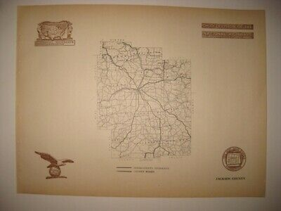Antique 1920 Jackson County Ohio Road Highway Map Railroad Detailed Fine Rare Nr