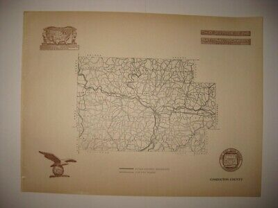 Antique 1920 Coshocton County Ohio Road Highway Map Railroad Detailed Fine Rare