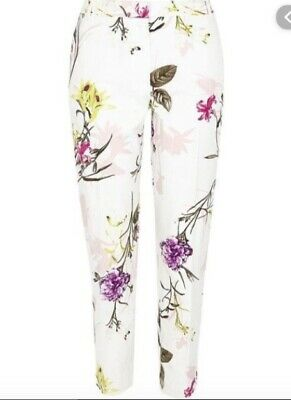 RIVER ISLAND white floral print tapered cigarette skinny trousers size 10 leg 27