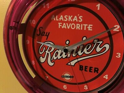 Rainier Alaska Beer Bar Advertising Man Cave Neon Wall Clock Sign